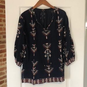 MADEWELL Ikat Navy Pattern Top